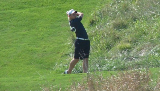 Trent Hoekstra on the 10th hole at Spirit Hollow on second day of IWC's Fun City Classic