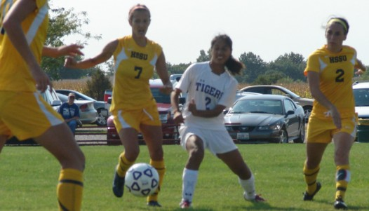 IWC's Gabriela Lopez plays the ball in the second half of Tuesday's match against Harris-Stowe